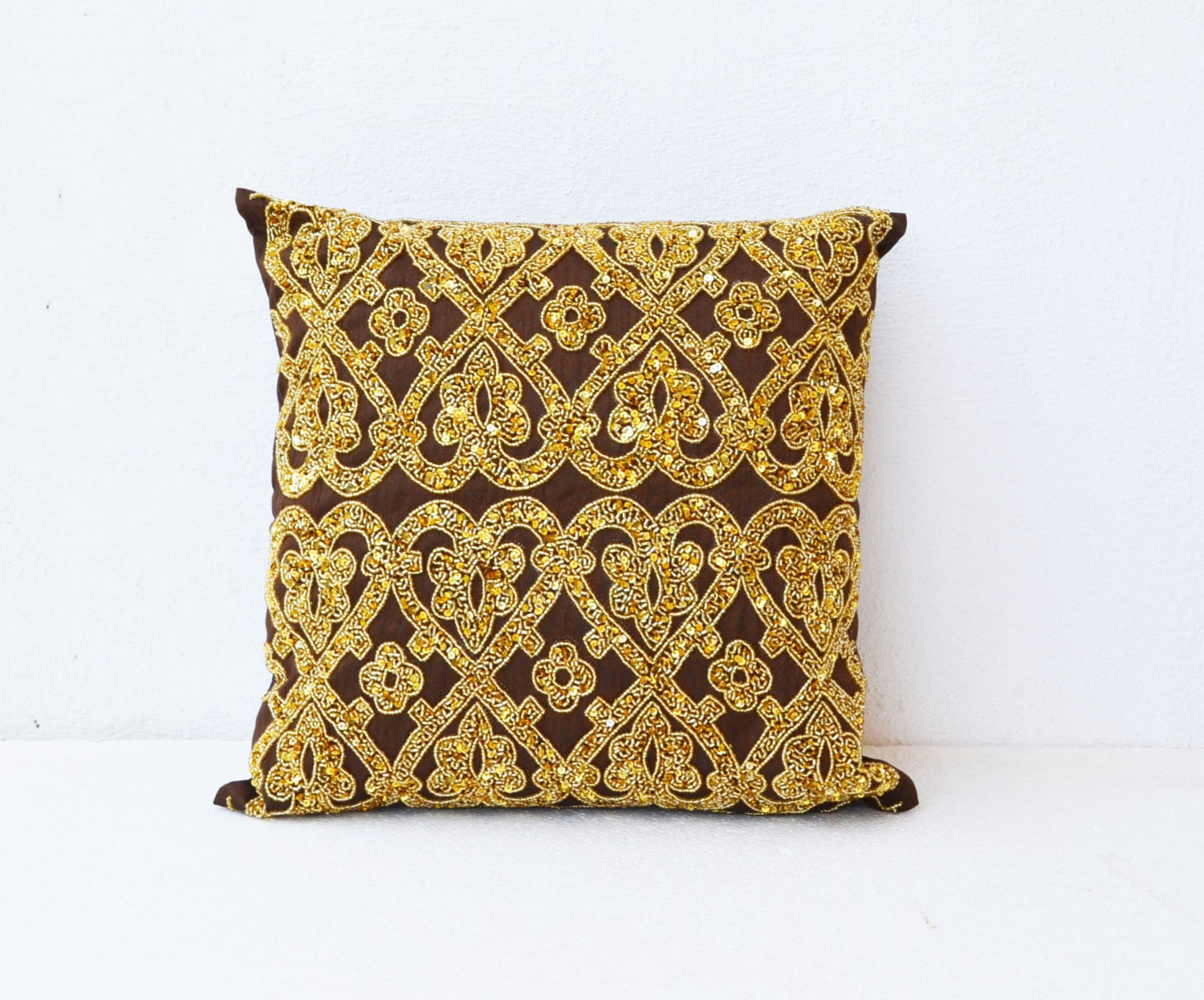 Decorative Pillows With Beads : Brown throw pillows with bead sequin detail Gold pillow Silk