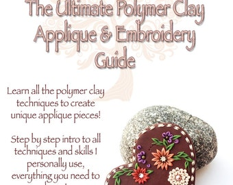 Polymer Clay tutorial, Bead Tutorial, Polymer Clay Applique, Clay Embroidery, Polymer Clay Jewelry, polymer clay tutorials, patterns