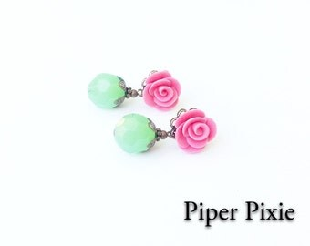 Bridesmaid, Post Earrings, Pink and Green, Rose Earrings, Cute Post Earrings, Faceted Beads, Roses
