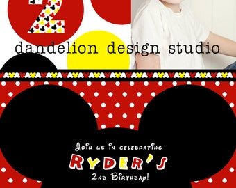 PRINTABLE Photo Invitation - One Photo Invite - Mickey Mouse Party Collection - Dandelion Design Studio
