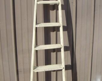 """Vintage Wooden 6 Step Ladder Shelf 66"""" - 70"""" tall - Choose a Vintage Surface or Pick a Color"""