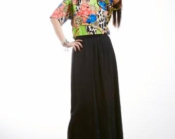 Vintage Evan Picone Black Crochet Maxi Skirt