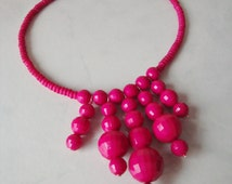 Hot Pink Bib Necklace, Handmade with Vintage Beads