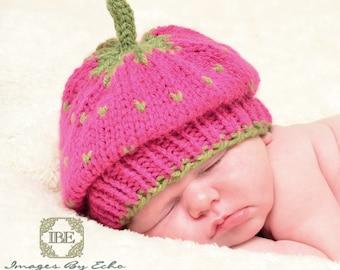 Newborn Strawberry Hat, Baby Strawberry Hat, Newborn Photo Prop, Baby Photo Prop, Strawberry Hat, Fruit Hat