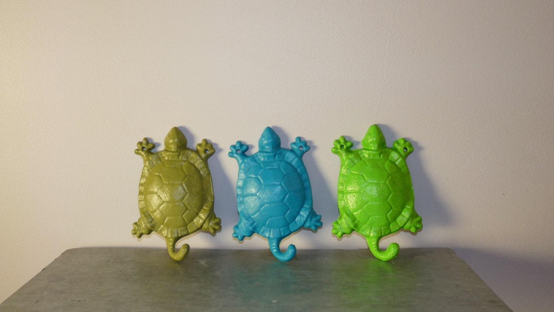 Turtle Bathroom Decor: 3 Cast Iron Turtle Hooks Outdoor Decor Bath Decor Patio