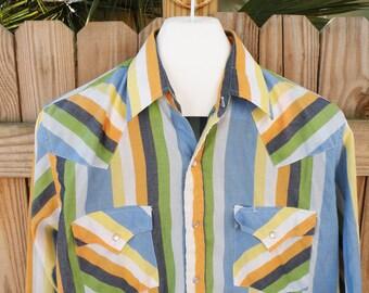 Vintage Ely Cattleman Western Long Sleeve Shirt Men Sz Medium