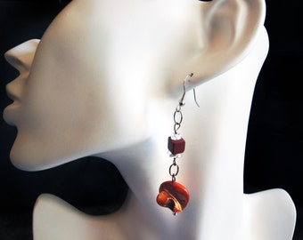 SALE!!!!   Lovely Burnt Orange Mother of Pearl Shell Beaded Dangle Earrings with Sterling Silver and Burnt Orange Porcelain Square Beads