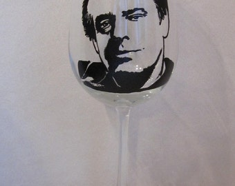 Hand Painted Wine Glass - JACK NICHOSON, Actor, Film Director, Film Producer
