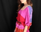 Vintage Pink Colorful Oversized Shirt Tunic Dress with Brown Belt