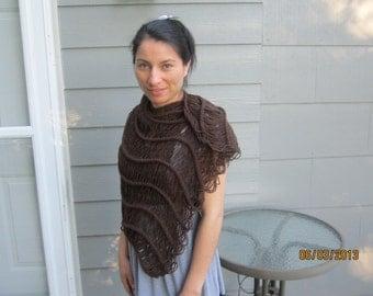 Elegant Brown Shawl - Knit Dew Drops Shawl