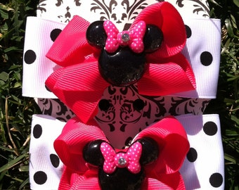 MINNIE MOUSE Shoe toppers   Pigtail bows  Minnie Mouse party  Minnie Mouse birthday  hair bows