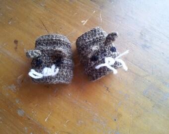 Childrens gloves - small animal fingerless gloves - kids gloves - brown mouse mittens - handmade - kids crochet -  brown mittens - mitts