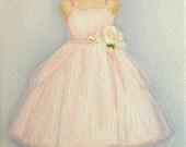 CUSTOM Ballet Dance Tutu Flower Girl Dress Illustration Painting in OIL by LARA 11x14 Wedding Gown