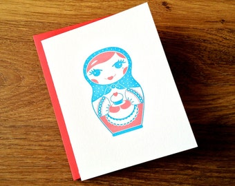 Matryoshka Doll Letterpress Greeting Card