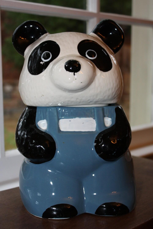 Sale Vintage Ceramic Panda Bear In Overalls Cookie Jar
