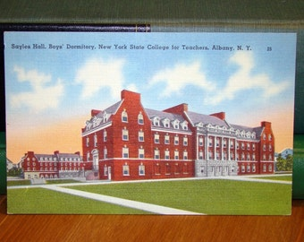 Vintage Postcard, Sayles Hall, New York State College for Teachers, Albany, New York 1940s Linen Paper Ephemera