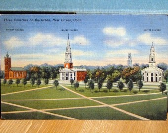 Vintage Postcard, Three Churches, New Haven, Connecticut 1940s Linen Paper Ephemera
