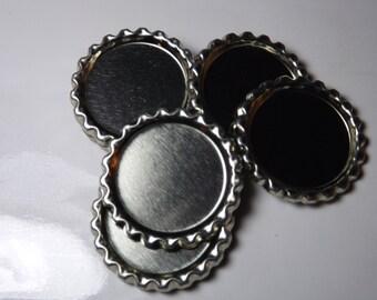 FLAT Bottle Caps 50 Chrome Linerless BottleCaps (no hole) silver flattened bottle caps Flattened Bottle caps for diy jewelry