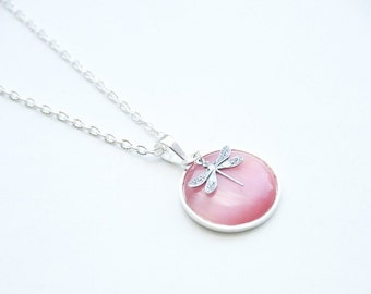 Silver necklace pink dragonfly