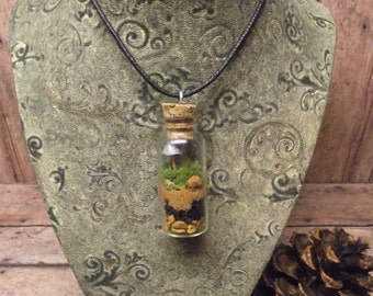 Terrarium Necklace - Free Shipping - Live Moss with Tiny Raku Fired Glow in the Dark Ceramic Mushroom - Live Jewelry Handmade By Gypsy Raku