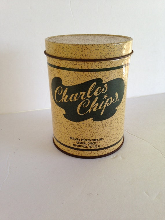 Mini Vintage Charles Chips Potato Chip Can By Eightboardsfarm