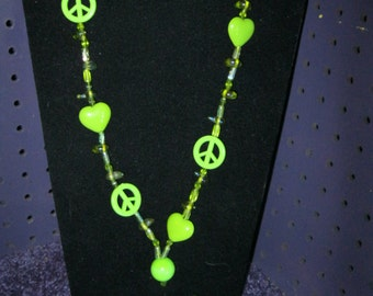Lime  GREEN  PEACE Signs and HEARTS Jewelry Set