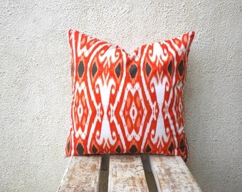 Accent Pillow Cover - Orange Ikat Cover - 18 x 18 - 1 pair - ct39B