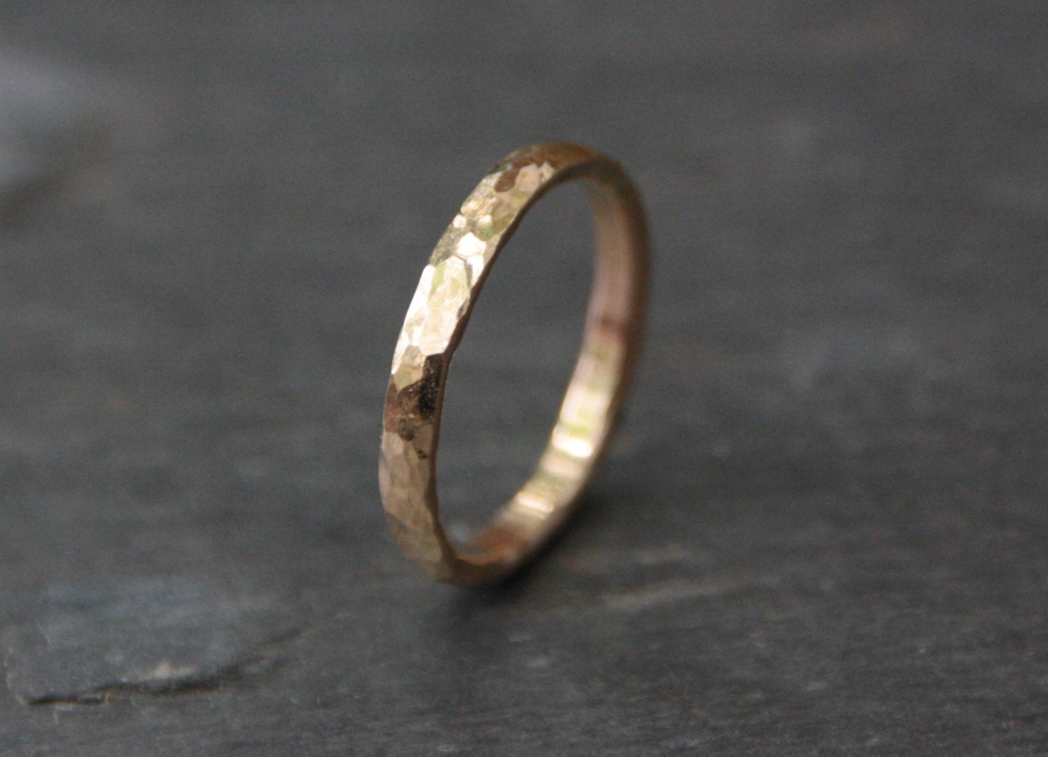 Hammered Gold Wedding Band Hammered Rounded By TorchfireStudio
