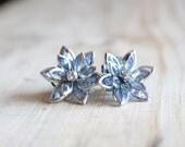 Flower Plugs Size 4g 2g 0g 00g and Up Vintage Inspired Ice Blue w Rhinestone Gauges Size 4 2 0 00 or Pierced Wedding Bridal Something Blue