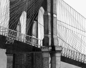 Graphite Drawing, Brooklyn Bridge Print , New York City Art, Large Black and White Print, Wall Hanging, Architectural Print