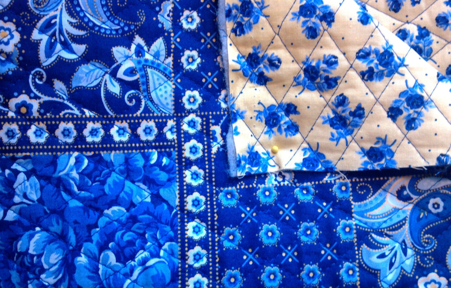 Quilted Fabric Blue Double sided qu...