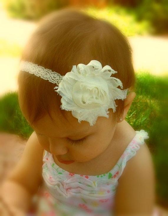 chagne ivory shabby flower headband baptism headband ivory flower headband baby by secretblossom