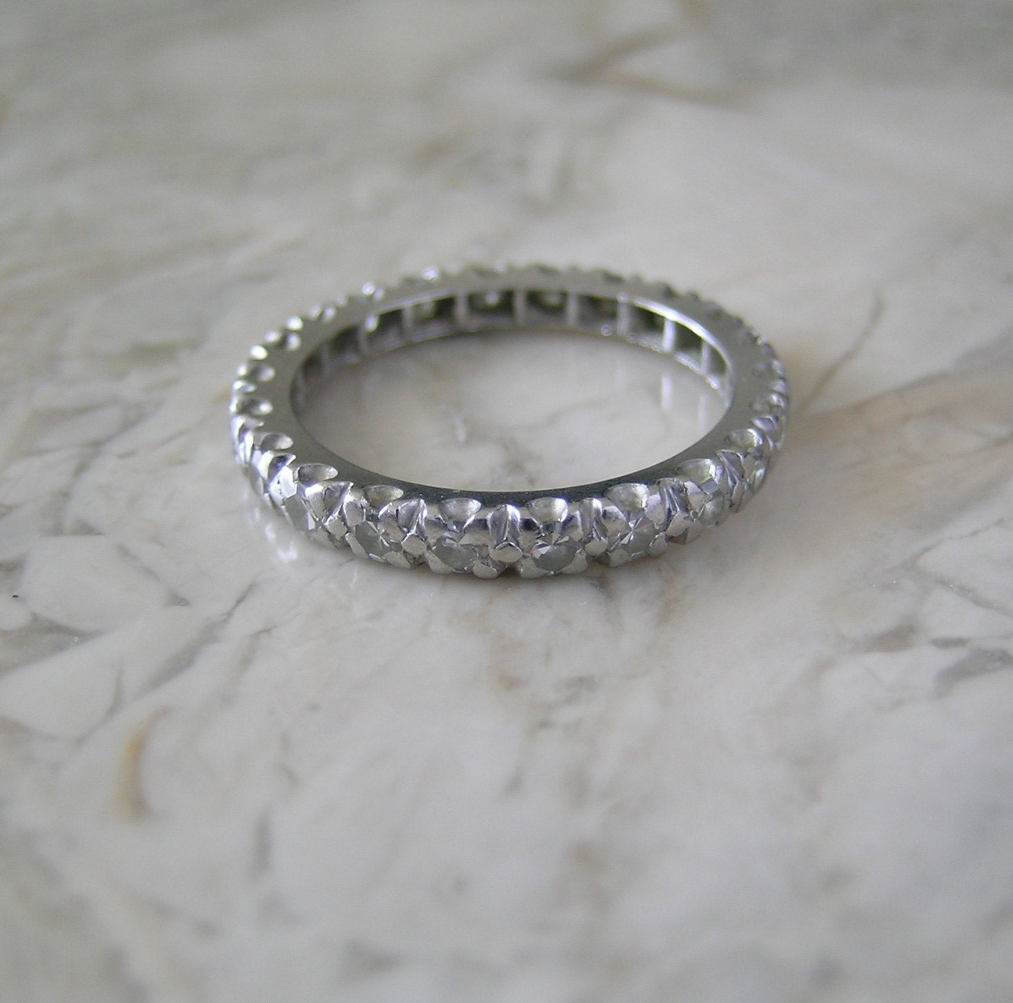antique platinum eternity ring band by