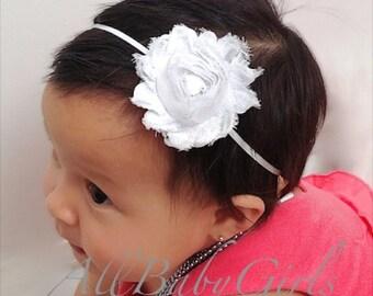 Baby Headband, White Headband, Flower Headband,  Christening Headband, Baptism Headband, Infant Headbands, Baby Headpiece, Baptism Headpiece
