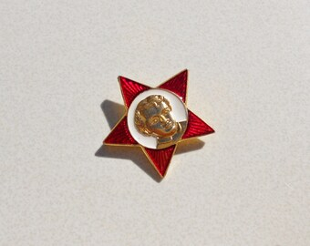 Vintage Red Star Soviet Pin with Lenin 1970s vintage