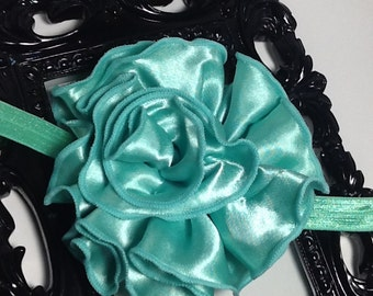 Mint green  headband: Huge mint green satin rose flower headband,  mint hair accessory, girls headband, baby headband, adult headband