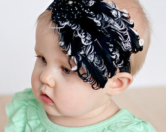 feather headband, 20's inspired headband, flapper headband, hair accessory, girls headband, baby headband