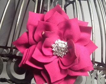 Hot pink flower hair clip hair accessory with blingy center girls hot pink hair clips, hot pink  hair accessories
