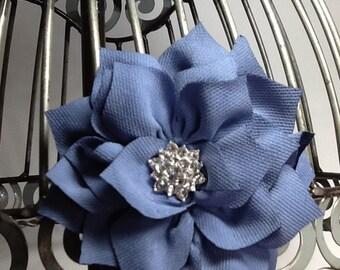 Blue hair clip, flower hair clip,  blue flower with blingy center girls hair clips, hair accessories blue hair clips, blue hair accessories