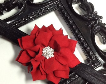 Red Flower headband with super blingy center, girls headband, flower headband, baby headband, red headband, black headband