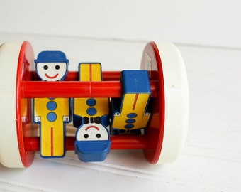 Vintage Dutch Roller Toy by Ambi Toys  Bright Primary Colors, Red, Yellow and Blue Great Baby Shower Gift