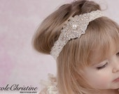 Vintage Ivory Lace Headband with Pearl and Rhinestone applique - Great Photo Prop - Perfect for weddings