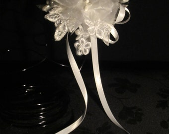 LBD748 / Perfect  Communion headpiece made of organza flowers adorned with vintage pearl bridal applique