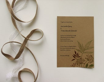 Rustic Wedding Invitation Suite with Recycled Paper - Boho Outdoor Wedding - RSVP Card Included