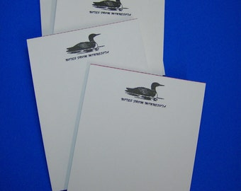 4 Minnesota Souvenir Loon Notepads  -  Memo Note Pad (Resort Gift Store Cabin MN Lakes)
