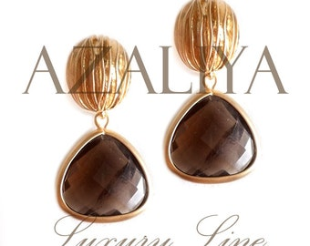 Walnut Splendor Earrings Statement Earrings with Smoky Quartz Crystals on Gold Vermeil Walnut Studs. Brown Dangles. Azaliya Luxury Line.