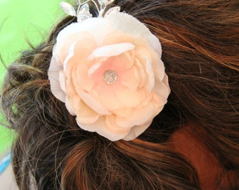 """Large Blush Colored Flower large center crystal and crystal spray.  Hair clip, Spray is adjustable. """"Mallory"""""""