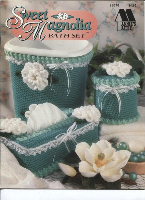 Annie's Attic 8B070, Sweet Magnolia Bath Set , Crochet Bathroom Decor Patterns
