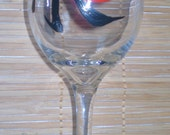 Chinese Calligraphy Wine Glass Hand Painted With the Chinese Character for Forever