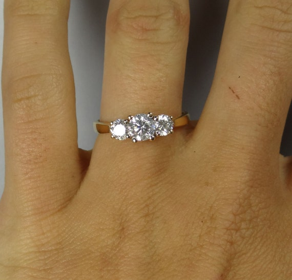 Classic Simple Yellow Gold Vintage Three Stone By MSJewelers